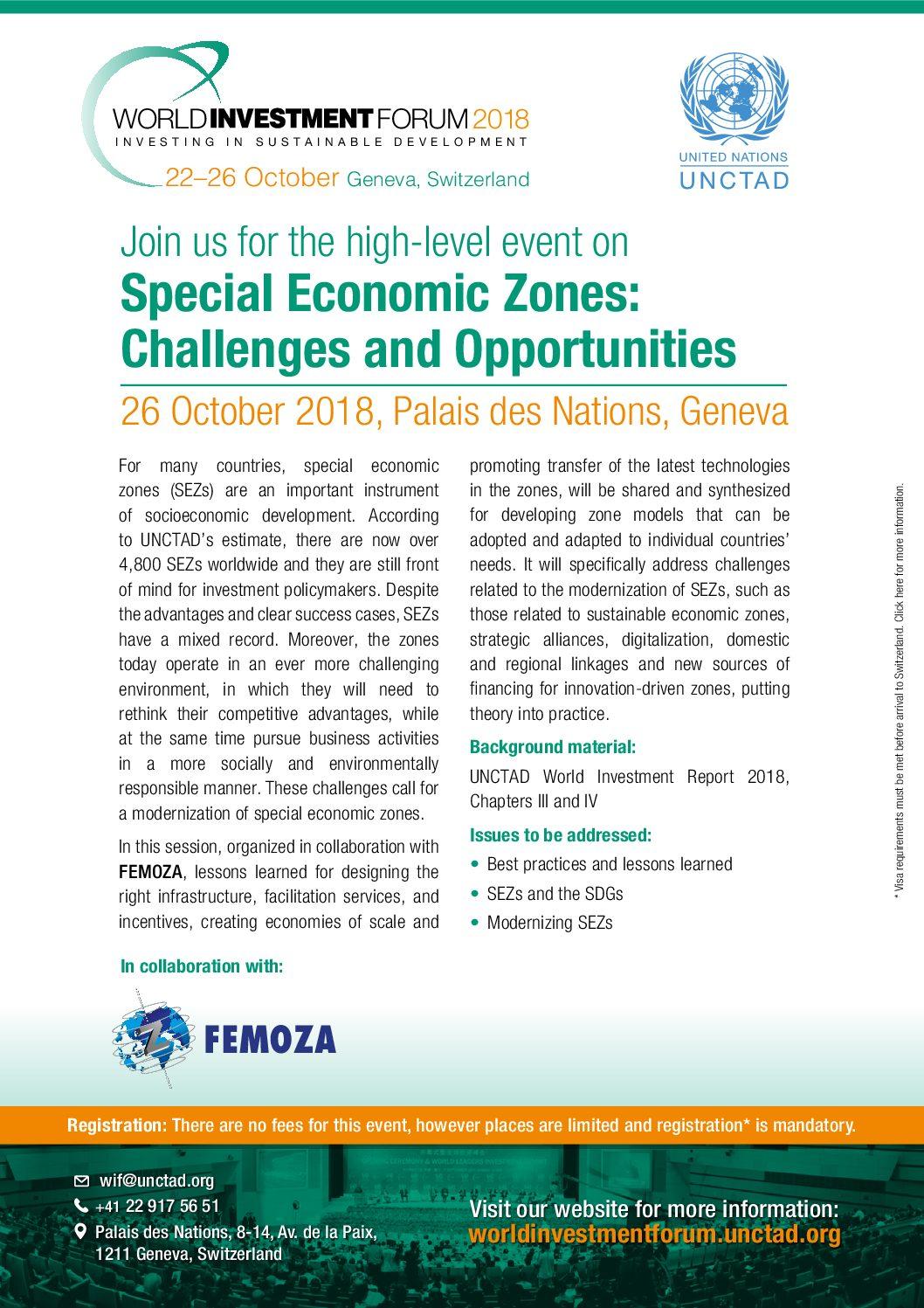 UNCTAD e FEMOZA promovem seminário sobre zonas francas no 2018 World Investment Forum – 26/10/2018.